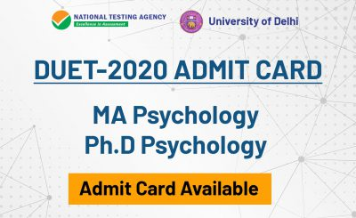 DU MA/PhD Psychology Entrance Admit Card 2020 – Download Now