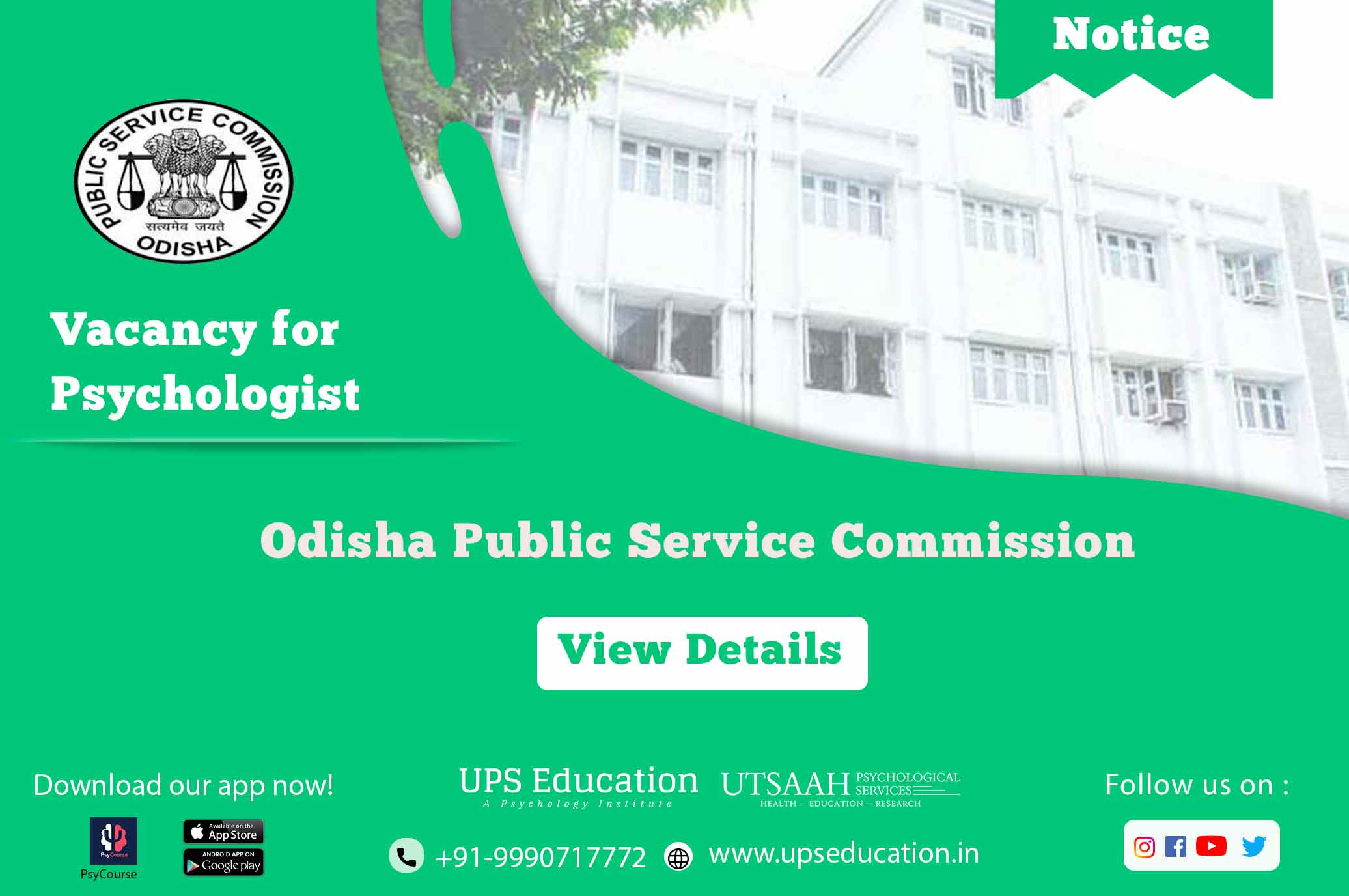Psychology vacancy for OPSC