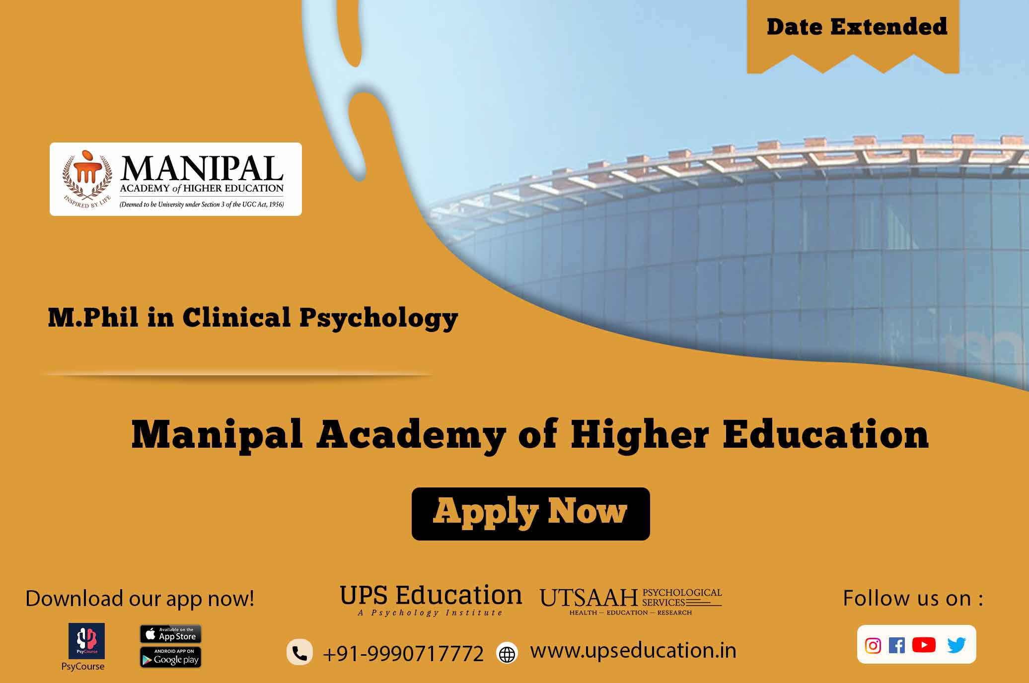 Manipal Acedemy M.Phil in Clinical Psychology Last date extended